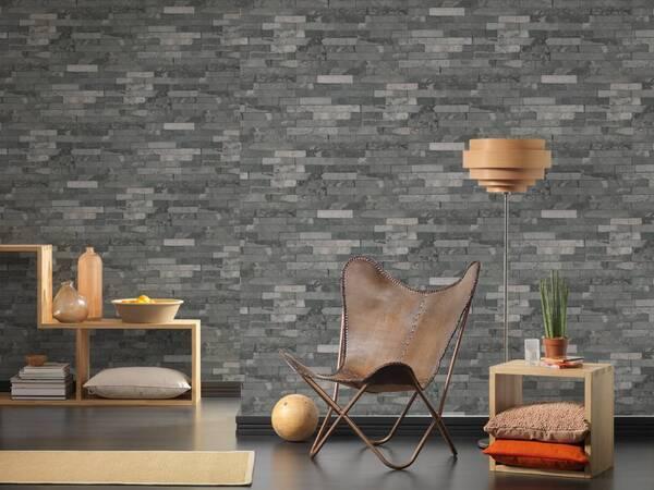 1280b4de Træ, beton og sten tapet - Tapeter der ligner naturmønster